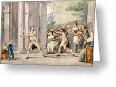 A Game Of Blind Mans Buff, C.late C18th Greeting Card