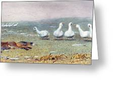 A Game Of Fox And Geese, 1868 Greeting Card