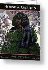 A Gardener Pruning A Tree Greeting Card