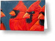 A Gathering Of Cardinals Greeting Card
