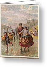A Gentleman Helps A Lady Skate Greeting Card