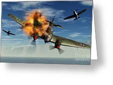 A German Heinkel Bomber Plane Crashing Greeting Card