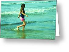 A Girl And Sea Greeting Card