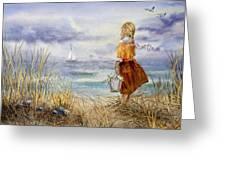 A Girl And The Ocean Greeting Card by Irina Sztukowski