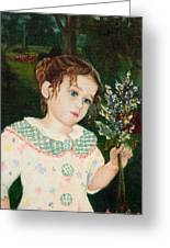 A Little Girl With Flowers Greeting Card