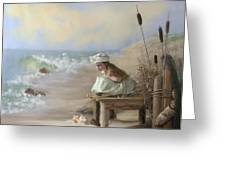A Girl Posed By The Seashore Victoria Greeting Card