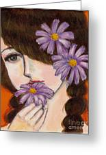 A Girl With Daisies Greeting Card