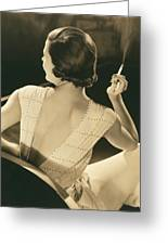 A Glamourous Woman Smoking Greeting Card