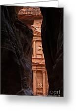 A Glimpse Of Al Khazneh From The Siq In Petra Jordan Greeting Card
