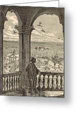 A Glimpse Of Charleston And Bay From St. Michael's Church 1872 Engraving By Harry Fenn Greeting Card by Antique Engravings