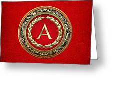 A - Gold Vintage Monogram On Red Leather Greeting Card