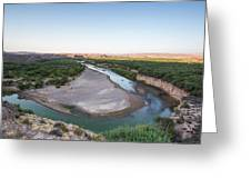A Green River Curves Around A Deep Bend Greeting Card