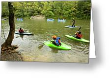 A Group Of Kayakers, Rafters Greeting Card