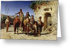 A Gypsy Family On The Road, C.1861 Oil On Canvas Greeting Card