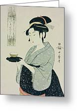 A Half Length Portrait Of Naniwaya Okita Greeting Card