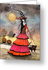 A Halloween Stroll Greeting Card by Molly Harrison