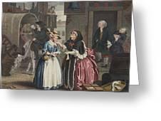 A Harlots Progress, Plate I Greeting Card by William Hogarth