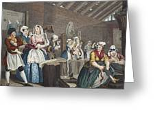 A Harlots Progress, Plate Lv Scene Greeting Card
