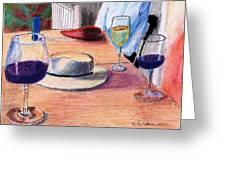 A Hat And Wine Greeting Card