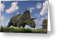 A Herd Of Albertaceratops Grazing Greeting Card