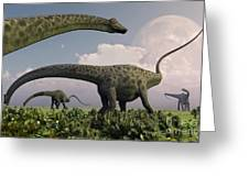 A Herd Of Diplodocus Sauropod Dinosaurs Greeting Card