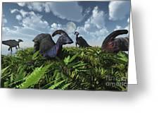 A Herd Of Herbivorous Parasaurolophus Greeting Card