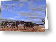 A Herd Of Parasaurolophus Dinosaurs Greeting Card