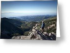 A Hiker Looks At The View Greeting Card