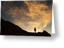 A Hiker Standing On A Ridge At Sun Rise Greeting Card