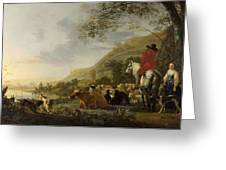 A Hilly Landscape With Figures Greeting Card