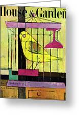 A House And Garden Cover Of A Bird In A Cage Greeting Card
