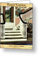 A House And Garden Cover Of A Cat On A Staircase Greeting Card