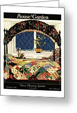 A House And Garden Cover Of A Four-poster Bed Greeting Card