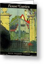 A House And Garden Cover Of A Gate Greeting Card