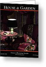 A House And Garden Cover Of A Lamp By An Armchair Greeting Card