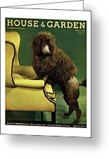 A House And Garden Cover Of A Poodle Greeting Card