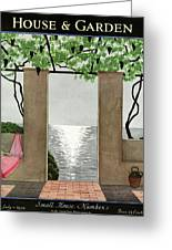 A House And Garden Cover Of A Seaside Patio Greeting Card