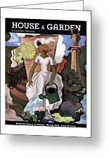 A House And Garden Cover Of A Woman Watering Greeting Card