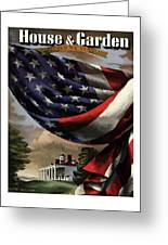 A House And Garden Cover Of An American Flag Greeting Card