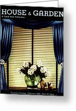 A House And Garden Cover Of Flowers By A Window Greeting Card