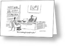 A Human Resources Office Worker Speaks To An Greeting Card