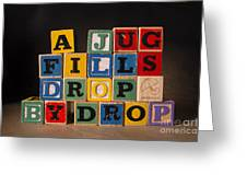 A Jug Fills Drop By Drop Greeting Card