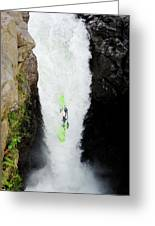 A Kayaker Takes The Plunge On Huge Greeting Card