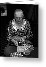 A Lacemaker In Bruges Greeting Card