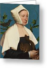 A Lady With A Squirrel And A Starling Greeting Card