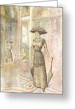 A Lady's Curious Reflection Greeting Card