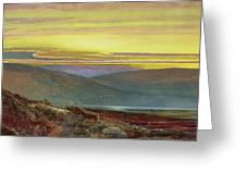 A Lake Landscape At Sunset Greeting Card