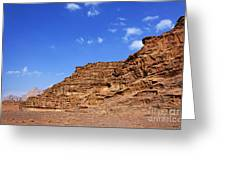 A Landscape Of Rocky Outcrops In The Desert Of Wadi Rum Jordan Greeting Card