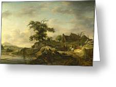 A Landscape With A Farm On The Bank Of A River Greeting Card