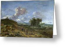 A Landscape With A High Dune And Peasants On A Road Greeting Card